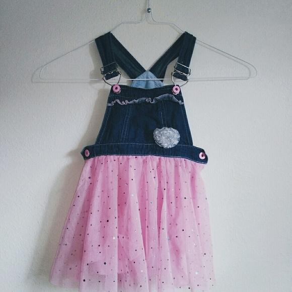9e5153b819f Pink Overall Denim Sparkly Tutu Dress. M 5b66416b0cb5aa912459a045
